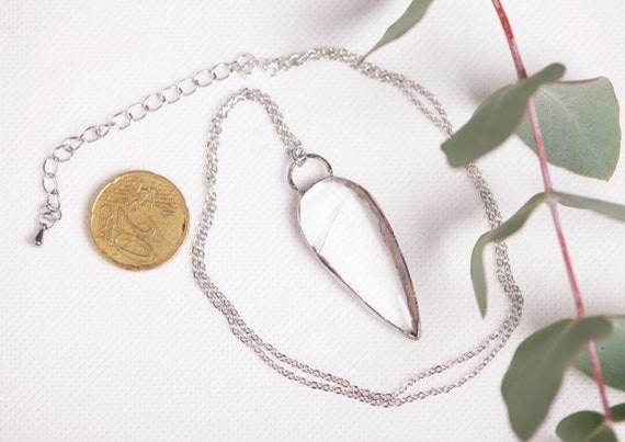 Necklace Crystal of rock in silvered copper - natural stone crystal