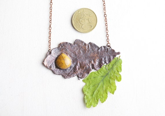 Real oak leaf pendant and Yellow Jaspe - nature-inspired jewel