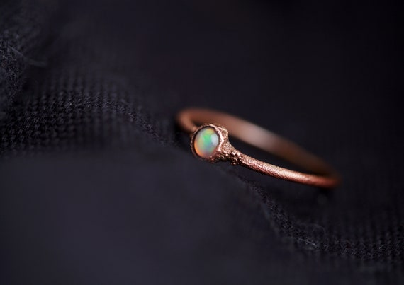 Welo Opal Ring - Opal Natural Stone Ring - Opal Jewelry // FR 56 / US 7 1/4