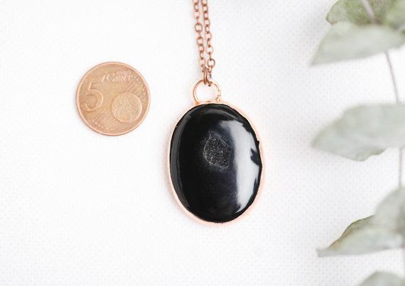 Onyx Druzy necklace - Onyx Druzy pendant // Natural stone jewel