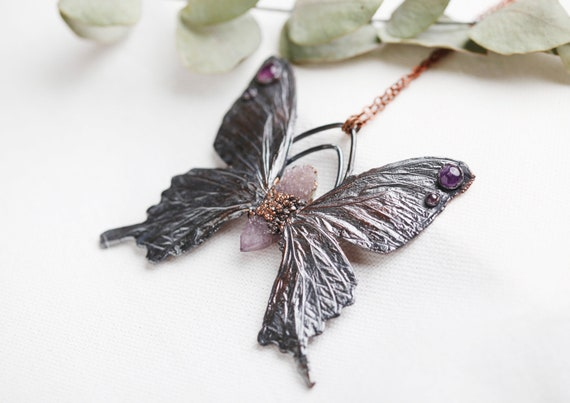 Real butterfly necklace in patinated copper & cactus amethyst - nature inspired jewelry