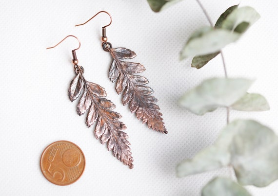 Real brass fern earrings patina- nature and bohemian jewelry