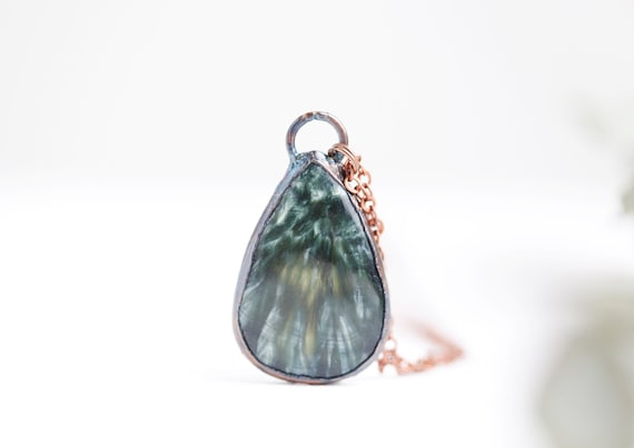 Seraphinite necklace in patinated copper - Seraphinite pendant - Natural stone jewelry