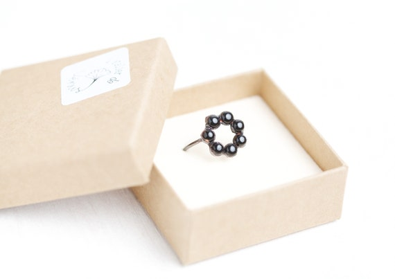 Copper black Onyx Ring - FR 56 - Black onyx jewel // natural stone ring