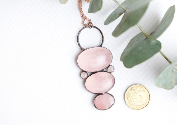 Quartz Rose necklace in patinated copper // Natural Stone Jewelry // Talisman