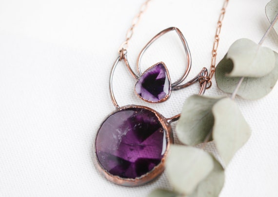 Amethyst necklace in patinated copper - Natural stone jewelry - talismans