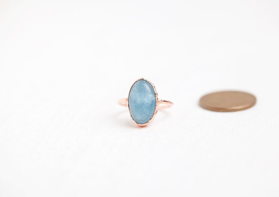 Aigue-Marine ring in raw copper - 50 FR / US 5 1/4- Natural Stone Ring / Aigue-Marine Ring // copper jewel