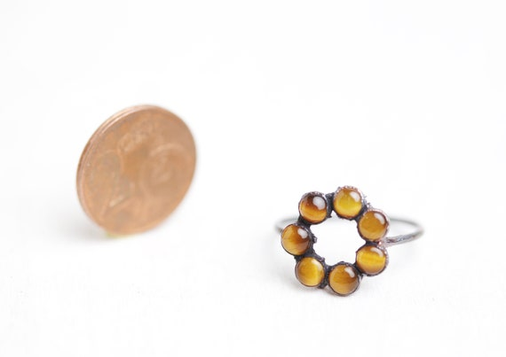 Tiger Eye Ring in Patinated Copper - FR 57 1/2 // US 8 - Tiger Eye Jewel // Natural Stone Ring