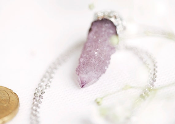 Amethyst Cactus necklace in silvered copper - natural amethyst stone