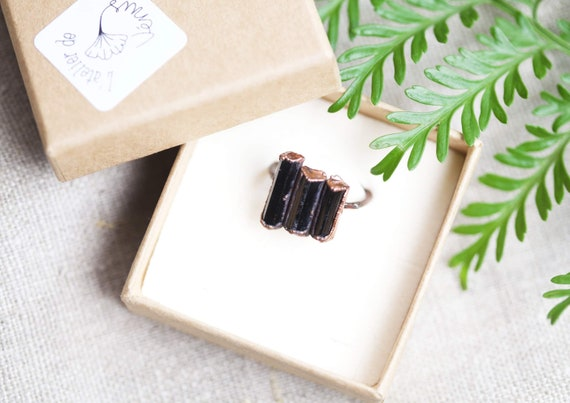 Ring raw crystals black Copper Tourmaline - FR size 56 - Natural stone jewel
