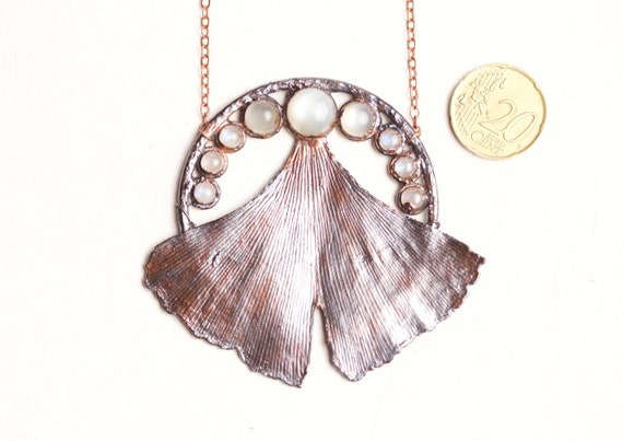 Real Ginkgo leaf pendant and patinated copper moonstones - nature-inspired jewellery and art nouveau