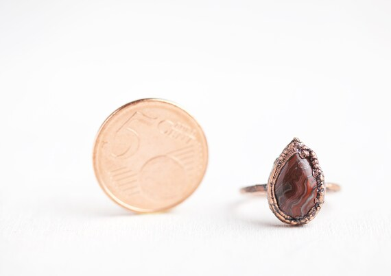 Agate Crazy Lace Ring - Agate Ring - Natural Stone Agate Jewelry // FR 50 / US 5 1/4