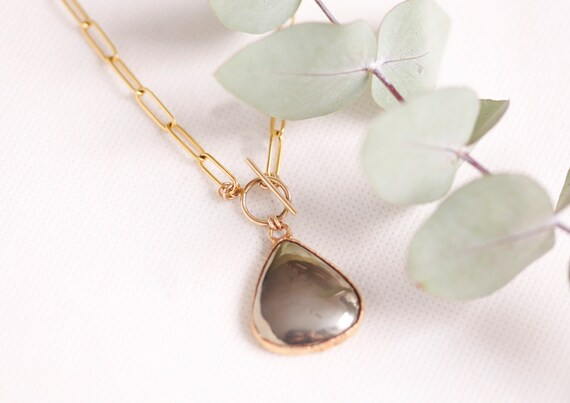 Pyrite necklace in gilded copper - Pyrite natural stone jewelry - Boho jewelry