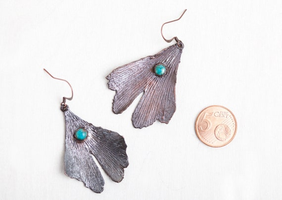 Real earrings Ginkgo leaves in copper and Turquoise - nature-inspired jewel
