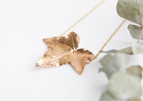 Real gold copper ivy leaf necklace // Veritables vegetaux // Jewelry nature - boho