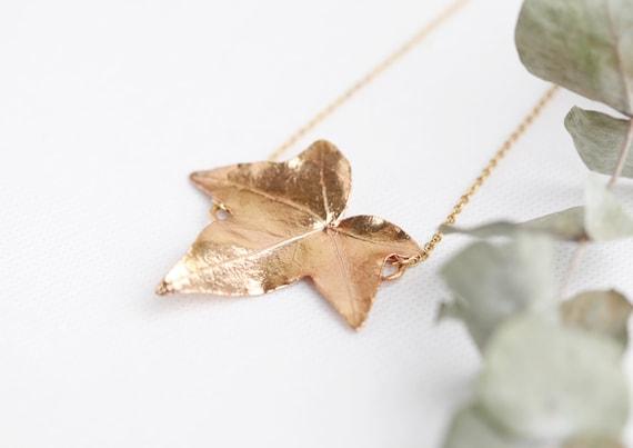 Real gold copper ivy leaf necklace // Veritables vegetaux // Jewelry nature - boho