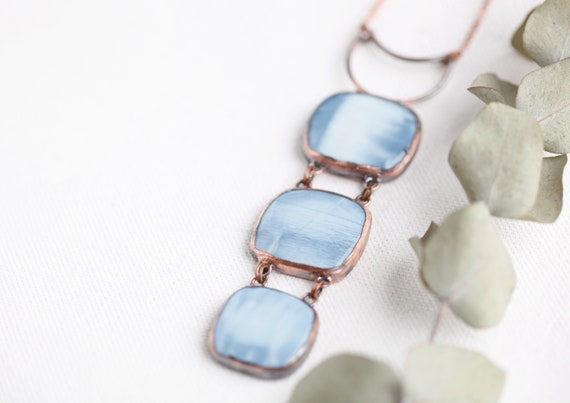 Owyhee Opal Pendant in Patinated Copper - Opal Natural Stone Jewelry - Talisman
