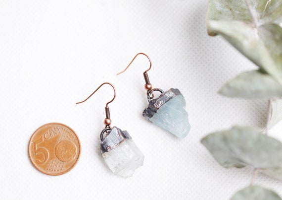 Copper Aquamarine earrings - Nature Inspiration Jewelry