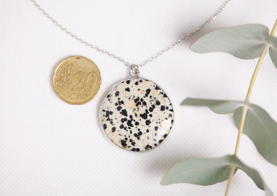 Dalmatian jasper necklace in silvered copper - natural jasper stone - Dalmatian jasper