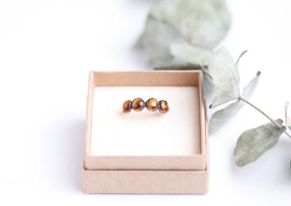 Copper Tiger Eye Ring // Size FR 56 // Natural Stone Jewelry Tiger Eye
