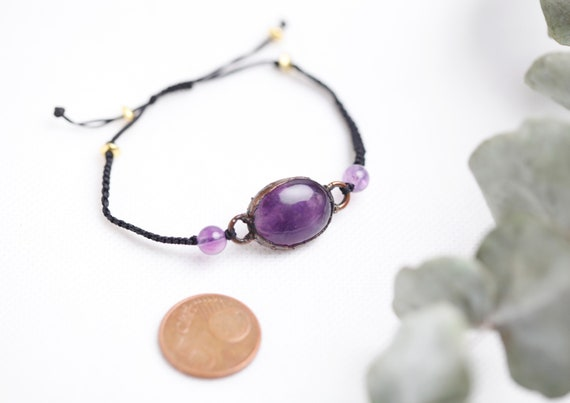 Copper amethyst bracelet // boho-inspired jewelry // adjustable bracelet