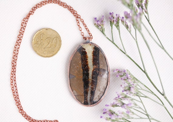 Septaria necklace in patinated copper - Jewelry Natural Stone - Septaria