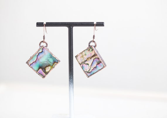 Abalone earrings - Natural stone earrings - Abalone Jewelry