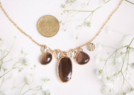 Quartz necklace smoked in gilded copper - Jewelry Natural Stone Quartz Smoked