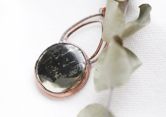Apache Gold Necklace in Patinated Copper -Natural Stone Jewelry - Talisman Pyrite