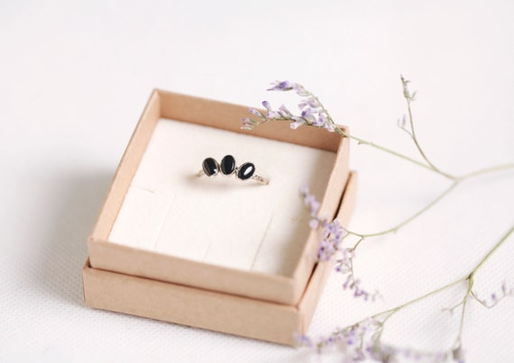 Onyx ring in silvered copper - FR T 52 - Jewellery natural stones Onyx