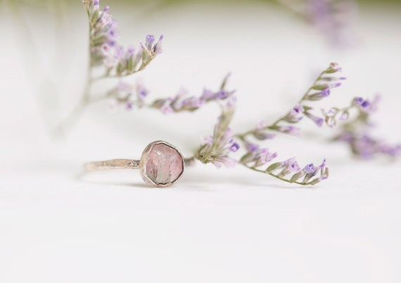 Pink tourmaline ring in silvered copper - Size FR 53 // US 6 1/2 - Jewelry inspired by nature & boho