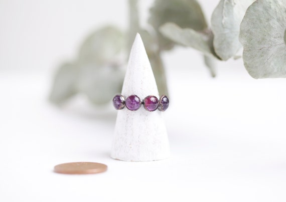 Copper amethyst ring // Size FR 52 / US 6 // Amethyst natural stone jewelry