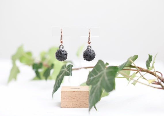 Earrings Patinated copper lava stone // Natural Stone Lava Stone Jewelry // Bohemian