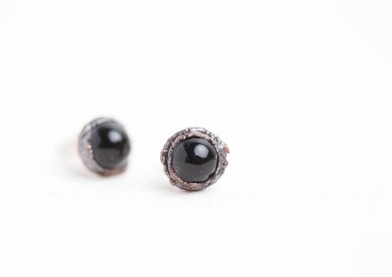 Onyx Black Copper Ear Clous - Natural Stone Jewel -