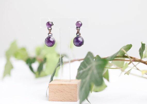 Amethyst earpieces in patinated copper // Amethyst Jewelry