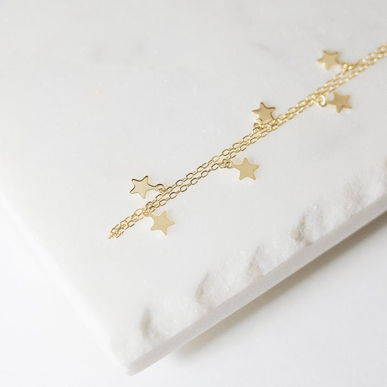 Canner Fashion Boho Women Choker Gold Silver Chain Star Pendants Short Necklaces For Women Party Jewelry Gift