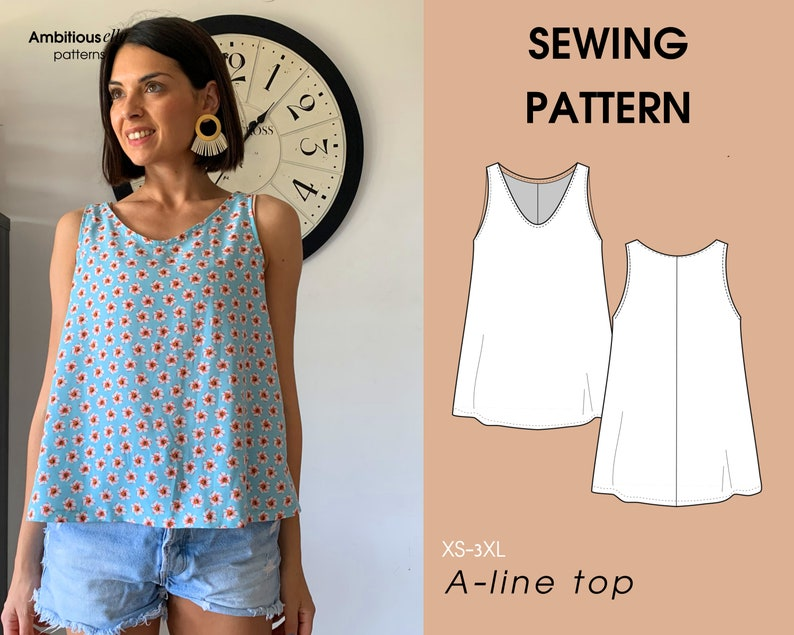 Top Sleeveless A line PDF Sewing Pattern  Instant Download  image 0