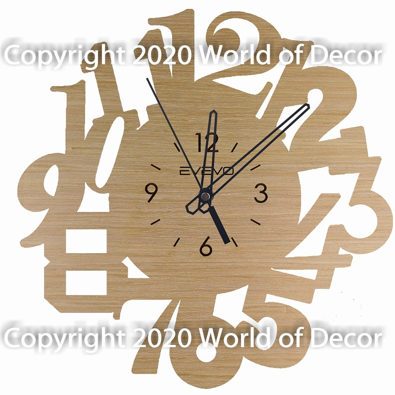 Numbers Wood Wall Clock Wooden Clock Natural Wood Clock Wooden wall Clock Unique Wall Clock Custom Designed