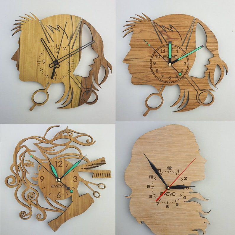 Barber Shop Wood Wall Clock Wooden Clock Natural Wood Clock Wooden wall Clock Unique Wall Clock Custom Designed