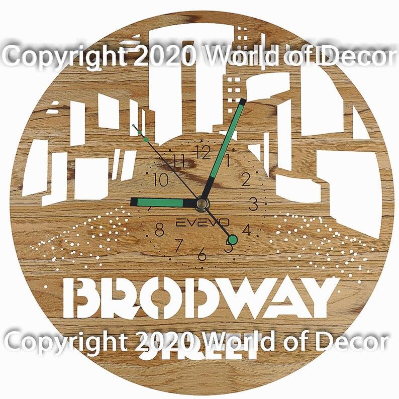 Brodway Street Wood Wall Clock Wooden Clock Natural Wood Clock Wooden wall Clock Unique Wall Clock Custom Designed