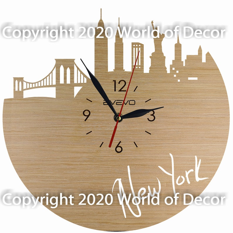 New York Wood Wall Clock Wooden Clock Natural Wood Clock Wooden wall Clock Unique Wall Clock Custom Designed