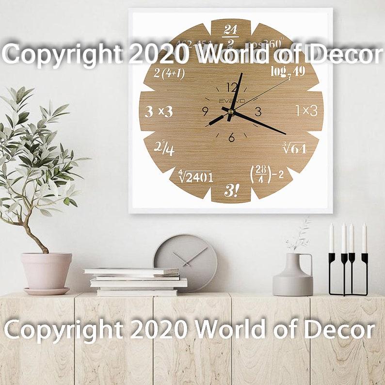 Mathématiques Horloge de bois de mur de bois Horloge en bois Horloge en bois Horloge en bois horloge murale unique Horloge murale conçue