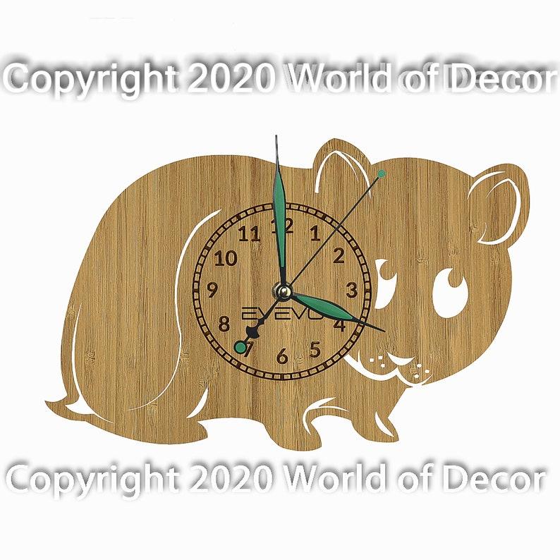 Hamster Wood Wall Clock Wooden Clock Natural Wood Clock Wooden wall Clock Unique Wall Clock Custom Designed