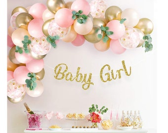 Baby Shower Balloon Arch Pink Peach Blush Balloon Garland Kit Baby Girl Balloons 1st Birthday Party Decor Floral Bday Decorations