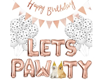 Custom Pet Theme Birthday Party Decor Bday Banner Lets Pawty Rose Gold Letter Foil Balloons Dog Bday Ideas Puppy Shower Decorations Cat Hat