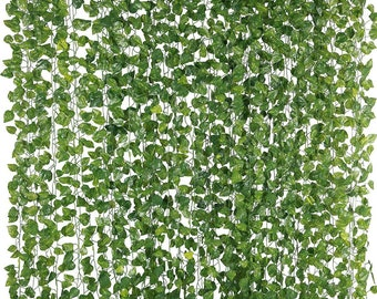 12 Pack 84 Feet Fake Ivy Leaves Artificial Garlands Hanging Plant Vine Runner Wedding Party Supplies Garden Wall Faux Vines Leaf Decoration