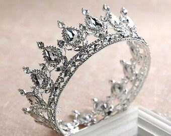 FAST SHIPPING!! Quincea\u00f1era Tiara Silver Tiara Silver Tiara Crown Wedding Headpiece Zirconia Silver Tiara Headpiece. Crystal Tiara
