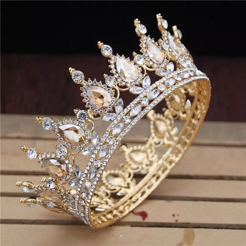 Vintage Baroque Gold Pearl Leaf Bridal Tiara Crystal Crown image 0