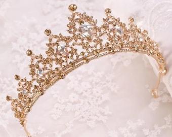 Baroque Gold Champagne Crystal Heart Bridal Tiaras Crown Rhinestone Pageant Diadem Veil Tiara Headbands Wedding Hair Accessories,tiara svg
