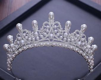 Handmade Princess Jewelry Large Full Circle Rhinestones Queen Pageant Crown Bridal Hair Jewelry Wedding Dress Accessories,Pearl tiara